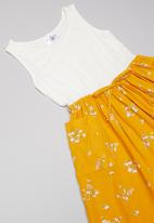 POP CANDY - Combo fabric dress with pockets - cream & yellow