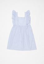 POP CANDY - Frill sleeve dress - blue & white