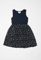Rebel Republic - Teens combo fabric dress with pockets - navy