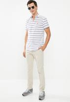 POLO - Richard horizontal stripe signature short sleeve shirt - white & navy