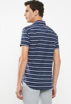 POLO - Richard horizontal stripe signature ss shirt - navy