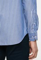 POLO - Xander mandarin chambray stripe signature ls shirt - navy & blue