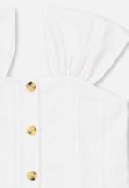 Cotton On - Paloma short sleeve button through top - white