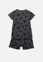Cotton On - Harpa short sleeve pj set - black
