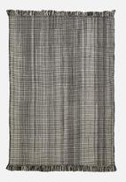 Sixth Floor - Reed woven rug - black & natural