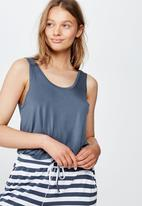 Cotton On - Sleep recovery scoop back tank - blue