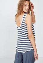 Cotton On - Sleep recovery scoop back tank - blue & white