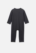 Cotton On - The long sleeve snap romper - black & white