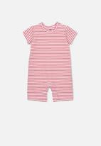 Cotton On - The short sleeve romper - pink & white