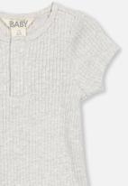 Cotton On - The short sleeve button bubbysuit - grey
