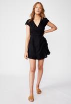 Cotton On - Woven amber short sleeve wrap mini dress  - black