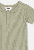 Cotton On - The short sleeve button bubbysuit - green