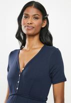 Cherry Melon - Maternity Button front jersey dress with tie - navy