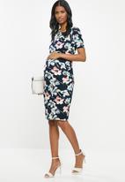 Cherry Melon - Maternity Bardot dress - multi
