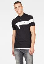 G-Star RAW - Graphic 13 slim short sleeve polo  - dark black