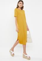 Jacqueline de Yong - Rosie short sleeve dress - yellow