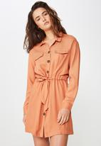 Cotton On - Woven elle long sleeved shirt dress - orange