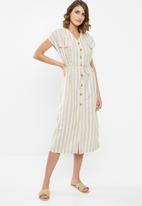 edit - Linen button through dress - beige & white