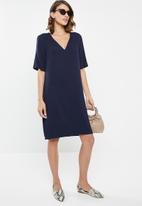 edit - Wide sleeve shift dress -  navy