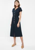 edit - Linen button through dress - navy