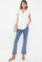 edit - Longer length utility shirt - white