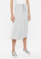edit - Draw cord midi skirt - grey