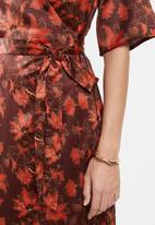 edit - Wrapover satin maxi dress -  multi