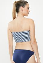 Cotton On - Longline bandeau bikini top  - blue & white