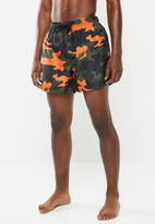 Brave Soul - Perth swim shorts - khaki & orange