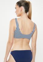 Cotton On - Henley scoop crop bikini top - navy & white