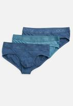 Jockey - Tonal cotton stretch 3 pack briefs - navy & blue