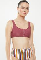 Cotton On - Henley scoop crop bikini top - pink
