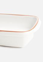 Excellent Housewares - Stoneware dish - white
