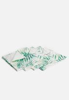 Sixth Floor - Leafy napkin set of 4 - green