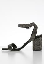 Steve Madden - Crystal block heel sandals - black & silver