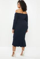 Missguided - Plus bardot long sleeve fishtail midi - navy