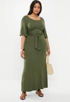edit Plus - Knot front maxi dress(plus) - khaki