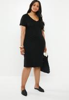 edit Plus - V-neck classic dress - black