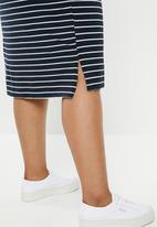 edit Plus - V-neck classic dress - navy & white