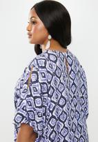 edit Plus - Sleeve detail shift dress(plus) - blue & white