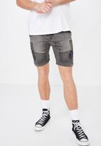 Factorie - Moto denim shorts - grey