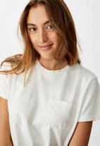 Cotton On - Chopped pockets tie dye T-shirt - cream