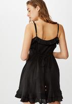 Cotton On - Woven breanna ruffle mini dress - black