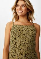 Cotton On - Woven rosie tie back piper animal - green & black