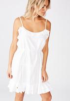 Cotton On - Woven breanna ruffle mini dress - white