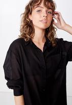 Cotton On - Savannah oversized resort shirt - black