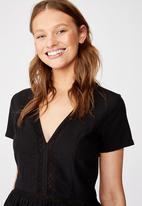 Cotton On - Woven harlow short sleeve mini dress - black
