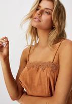 Cotton On - Wide heart lace trim cami - bronze