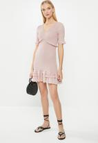 Cotton On - Woven Stella shirred mini dress  - pink