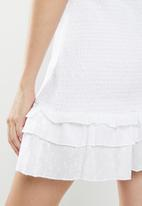 Cotton On - Woven Stella shirred mini dress  - white